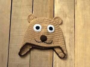 Newborn bonnet Bear hat Crochet baby hat