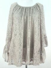 NWT SCULLY Womens SHIRT Blouse BEIGE Khaki Country WESTERN PEASANT Lace sz S ***