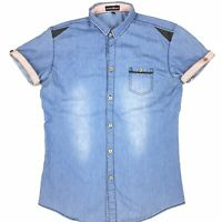 Emporio Armani Men's Blue Denim Button Up Short Sleeve Shirt Size L (Runs Small)