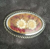 Vintage Large Dried Flower Brooch pin badge oval silvertone Art Deco statement