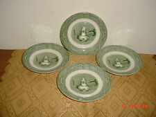 "4-PIECE ROYAL CHINA ""THE OLD CURIOSITY SHOP"" 6 1/8"" SAUCERS/GRN-WHT/CLEARANCE!"