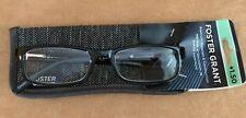 +1.50 Foster Grant premium black Reading Glasses case mens unisex plastic women