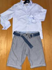 Zara Kids Boys Outfit Set blue dressy collar shirt dressy gray shorts 9-10 belt