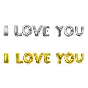 "16"" 40 Silver Gold Letter Mylar Balloons I LOVE YOU Wedding Bridal Shower Party"