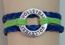 "VOLLEYBALL LEATHER CHARM BRACELET-SPORTS-CIRCLE-6 1/2""-8 1/2""-GREEN/BLUE-#108"