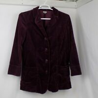 J Jill Corduroy Jacket Women Size M Purple Velvet Flip Cuff Button Wide Wale
