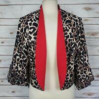 Maya Brooke Leopard Animal Print Stretch  Open Front Jacket Size 16 W