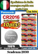 10x BATTERIE CR2016 BOTTONE ORIGINALE PANASONIC LITIO 3V PILE SCADENZA 2030