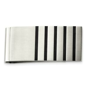 Stainless Steel Brushed Black Rubber Accents Money Clip Fashion Jewelry Dad