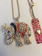 Betsey Johnson Crystal W- RED/BLACK Elephant Pendant Necklace-BJ29063