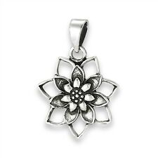 Sterling Silver 925 Detailed Blooming Lotus Flower Pendant Charm Jewelry