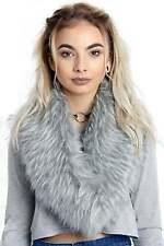 New Women URBAN MIST Faux Raccoon Fur Collar Scarf Stole Soft Fluffy