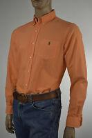 Ralph Lauren Custom Fit Melon Orange Long Sleeve Oxford Shirt/ Green Pony - NWT