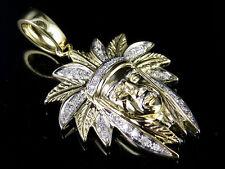 "10K Yellow Gold Diamond Native American Indian Chief Head Pendant .35ct 1.5"""