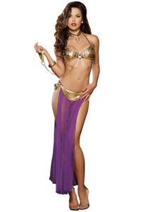 Sexy gold and purple harem bedroom costume