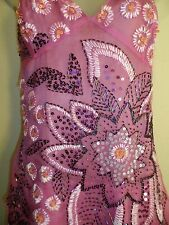 Marciano S Dress NWT $268 Sequin Beaded Floral Bright Lavender Purple Wedding