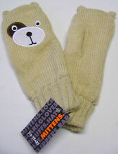 NEW GIRL'S SPARKLY KNITTED CUTE BEAR MITTENS 3-6 YEARS GLITTERY GOLD GLO87