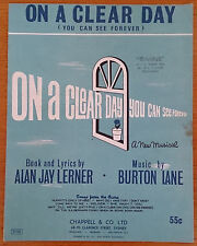 VINTAGE SHEET MUSIC On A Clear Day You Can See Forever 1960s  47154