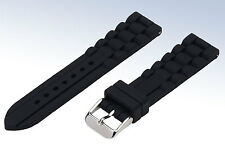 BLACK Sculpted Silicone Rubber 20mm WATCH Strap Jelly BAND