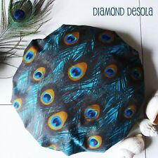 Shower Cap Peacock Feather Bath Shower Soft & Comfortable Cotton Outer UK Gift