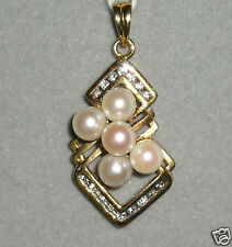 SOLID   14K Gold     AKOYA    Pearl      DIAMOND     Pendant