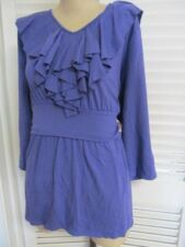 NWT-$70 Coldwater Creek Purple Ruffled Pucker Waist STRETCH Top Shirt 2X 22W-NEW