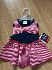 SIMPLY WAG RED-WHITE-BLUE with BOW Dress Puppy/Dog XS