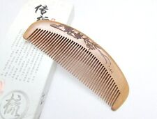 T16-1QiaoYaTou Flower Carve Fine-Toothed Natural Old Peach Wood Health Care Comb