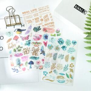 4pcs Plant Butterfly Transfer Printing Paper Rub On Stickers DIY Album Decor