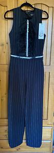 Lucy Pinstripe Ladies Jumpsuit Bnwt Size (L) Size 10-12