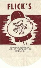 Flick's Jumbo Brown Betty Unused Ice Cream Bar Bag Flick's Drive-In Brazil, In.