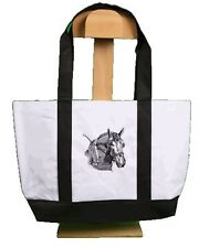 Canvas Bag Embroidered Percheron Head Beach Tote