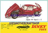 Dinky 131 E Type Jaguar 2+2 1968 A3 Size Large Poster Advert Leaflet Shop Sign