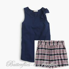 New NWT J.CREW Crewcuts 2pc Set Navy Bow Tank Pull-On Shorts in Madras Girls 8