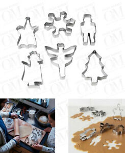6 Pc Metal Pastry Cookie Cutter Cake Mould Sugar Christmas cookies Baking