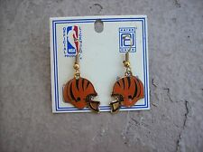 1980's CINCINNATI BENGALS Dangle HELMET Earrings - Peter David NEW Old Stock