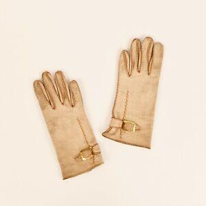 Vintage 50s Ladies Dark Cream Textured All Leather Tailored Short Driving Gloves