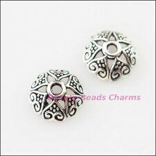 30Pcs Tibetan Silver Heart Flower End Bead Caps Connectors 8mm
