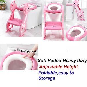 Childrens Toilet Seat Ladder Toddler Training Step Up For Kids Easy Fold Down UK