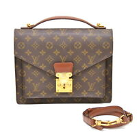 Authentic Louis Vuitton Monogram Satchel Shoulder Hand Bag Crossbody Monceau LV