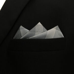 """MH1 Checked Gray Hanky Pocket Square For Men Large 12.6"""" Business"""