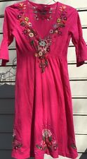 JW Los Angeles Joy Love Light Pink V Neck Embroidered Dress Sz SMALL