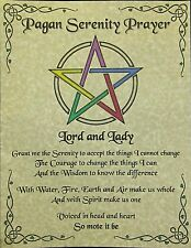 Pagan Serenity Prayer Parchment Poster Page Wicca Witch New Age Pentagram Occult