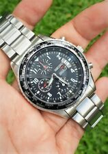 Seiko ANA Flightmaster Pilot Chronograph World Time 7T92-0VG0 Mens Aviator Watch