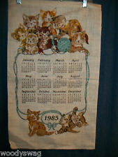 Vintage Calendar 1985 Kittens Blue Ball Playing Linen Quilt Craft Free USA Ship