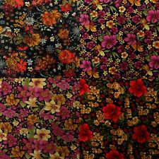 Floral Printed Peachskin, Silky Satin-feel Polyester Flowers Dressmaking Fabric