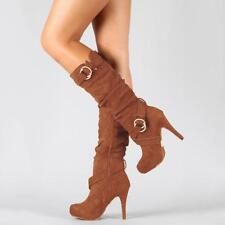 Stretch Knee High Mid Calf Stiletto Heel Zip Boots Plus Size Women Suede Shoes