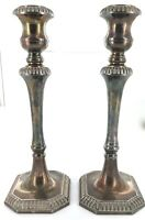 .MATCHING PAIR LARGE VINTAGE ENGLISH SILVERPLATE CANDLESTICK HOLDERS.