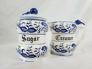 Vintage Set of 2 Blue Onion Porcelain Creamer and Sugar. Japan. C-061