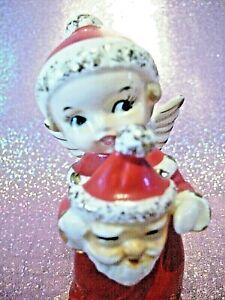 **SUPER RARE** VTG Japan Christmas Girl Boy Angel Holds Santa Face Mask Figurine
